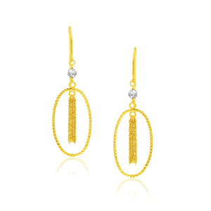 14k Two-Tone Yellow and White Gold Oval Hoop Earrings with Tassels