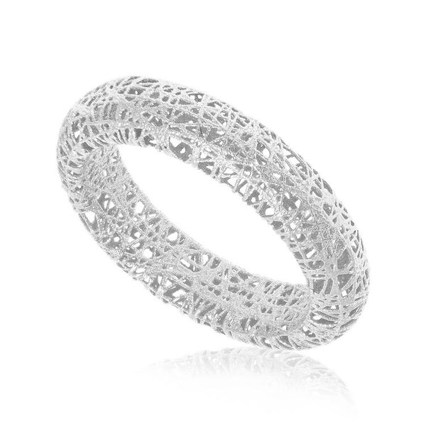 14k White Gold Wire Mesh Tube Style Ring