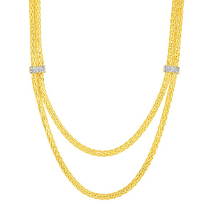 Two Strand Woven Rope Necklace with Diamond Accents in 14k Yellow Gold