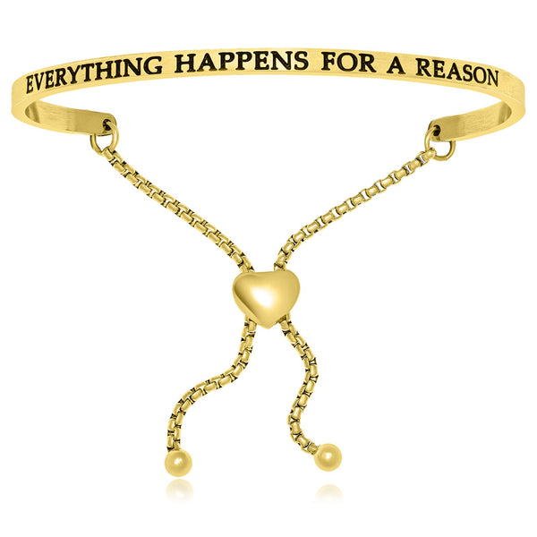 Yellow Stainless Steel Everything Happens For A Reason Adjustable Bracelet