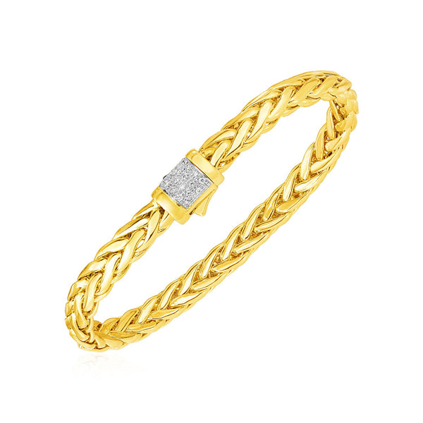 Woven Rope Bracelet with Diamond Accented Rounded Clasp in 14k Yellow Gold