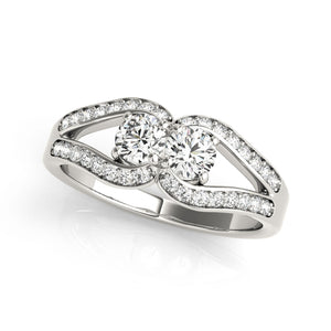 Two Stone Split Shank Design Diamond Ring in 14k White Gold (3/4 cttw)