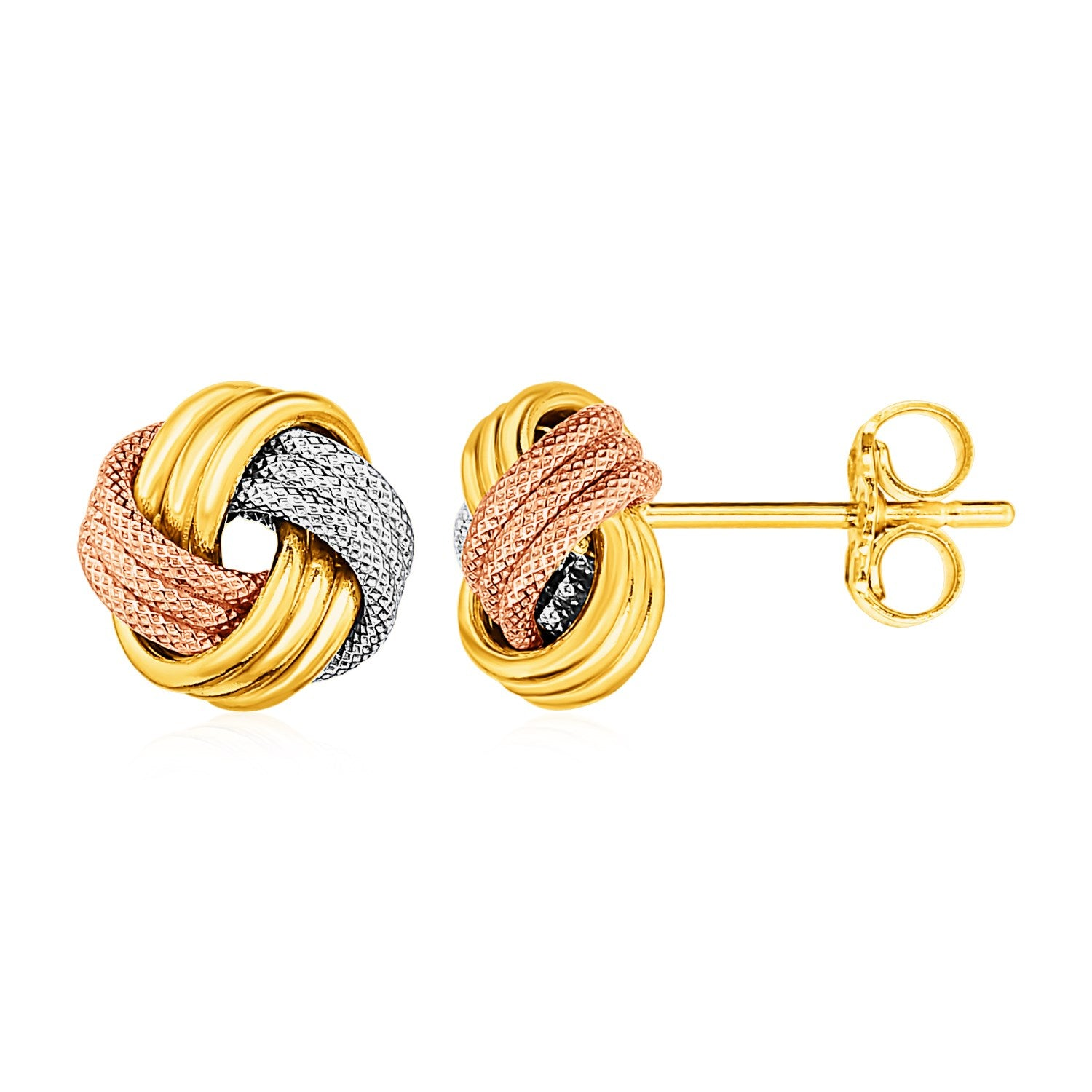 89f452f24 Love Knot Post Earrings in 14k Tri Color Gold - Unity BAMN