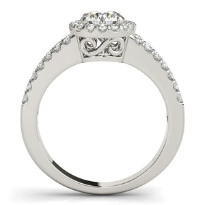 14k White Gold Round Diamond Split Shank Design Engagement Ring (7/8 cttw)