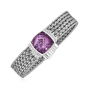 Wide Woven Bracelet with Pink Amethyst and White Sapphires in Sterling Silver