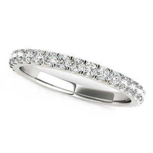 14k White Gold Round Pave Setting Diamond Wedding Band (3/8 cttw)