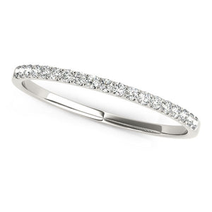 14k White Gold Pave Setting Diamond Wedding Ring (1/8 cttw)