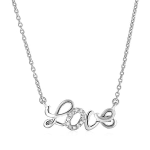 Sterling Silver inchesLove inches Pendant with Diamonds