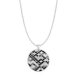 Snake Skin Pattern Pendant with Enamel and Cubic Zirconia in Sterling Silver