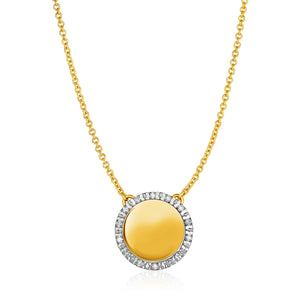 14k Yellow Gold Necklace with Round Engraveable Diamond Pendant (1/10 cttw)