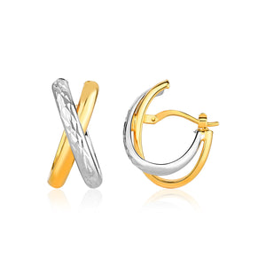 14k Two-Tone Gold X Stye Multi-Textured Hoop Earrings