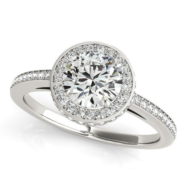 14k White Gold Round Diamond Engagement Ring with Pave Set Halo (1 1/2 cttw)