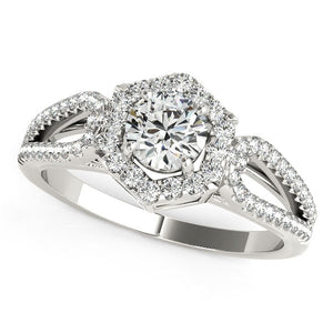 14k White Gold Diamond Engagement Ring with Hexagon Halo Border (7/8 cttw)