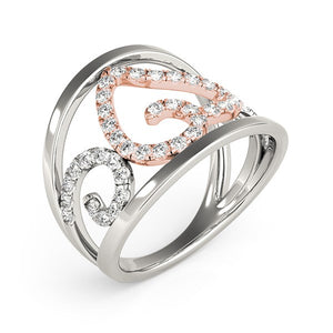Heart Motif Filigree Style Diamond Ring in 14k White And Rose Gold (1/4 cttw)