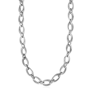 Polished and Textured Oval Link Necklace in Sterling Silver