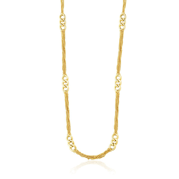 14k Yellow Gold Necklace with Cluster Curb Chains and Oversized Link Stations