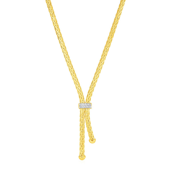 Woven Rope Lariat Necklace with Diamonds in 14k Yellow Gold