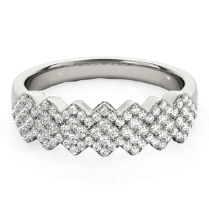 Diamond Studded Wide Multi-Diagonal Pattern Ring in 14k White Gold (5/8 cttw)