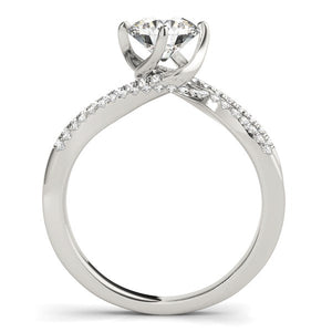 14k White Gold Spiral Design Pronged Diamond Engagement Ring (1 1/8 cttw)