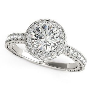 14k White Gold Milgrain Border Diamond Pave Engagement Ring (1 1/2 cttw)
