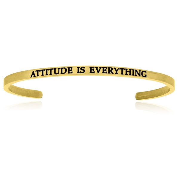 Yellow Stainless Steel Attitude Is Everything Cuff Bracelet