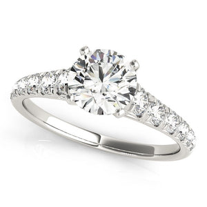 14k White Gold Prong Set Graduated Diamond Engagement Ring (1 7/8 cttw)