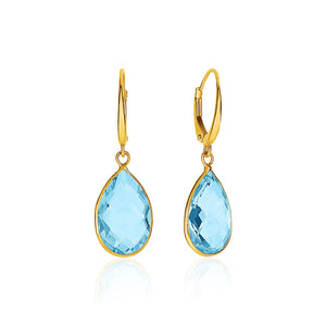 Drop Earrings with Pear-Shaped Blue Topaz Briolettes in 14k Yellow Gold