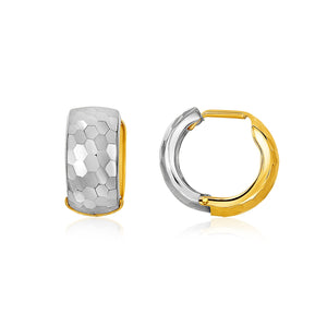 14k Two-Tone Gold Diamond Cut and Interlaced Style Hoop Earrings