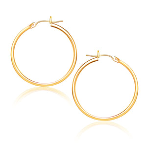 10k Yellow Gold Polished Hoop Earrings (25 mm)