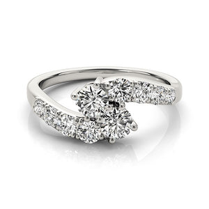 14k White Gold Two Stone Overlap Design Diamond Ring (1 cttw)