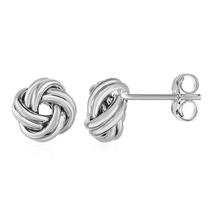 Love Knot Post Earrings in 14k White Gold