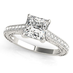 14k White Gold Princess Cut Diamond Engagement Ring (1 1/4 cttw)
