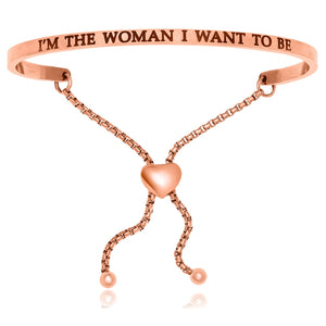 Pink Stainless Steel I'm The Woman I Want To Be Adjustable Bracelet