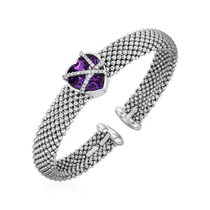 Popcorn Texture Cuff Bangle with Amethyst and Diamonds in Sterling Silver