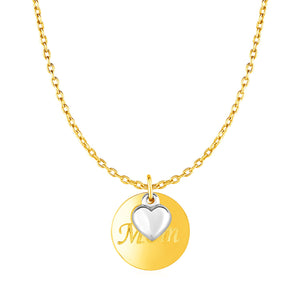 Necklace with Mom Pendant and Heart in 10k Two Tone Gold