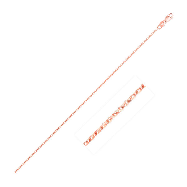 14k Rose Gold Cable Link Chain 1.1mm