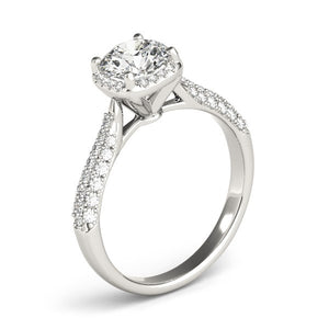 14k White Gold Halo Graduated Pave Shank Diamond Engagement Ring (1 1/3 cttw)