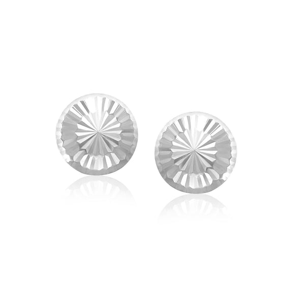 14k White Gold Textured Flat Style Stud Earrings