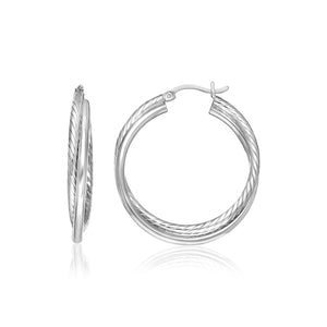 Sterling Silver Ridged Hoop Earrings with Textured Design