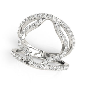 14k White Gold Diamond Flower Style Dual Band Ring (5/8 cttw)