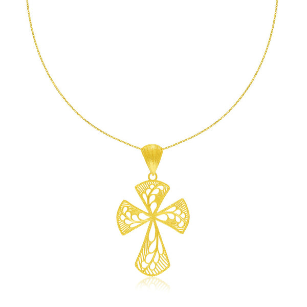 14k Yellow Gold Cross Pendant with Leaf Design Lace Pattern