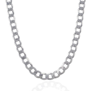Rhodium Plated 11.6mm Sterling Silver Curb Style Chain