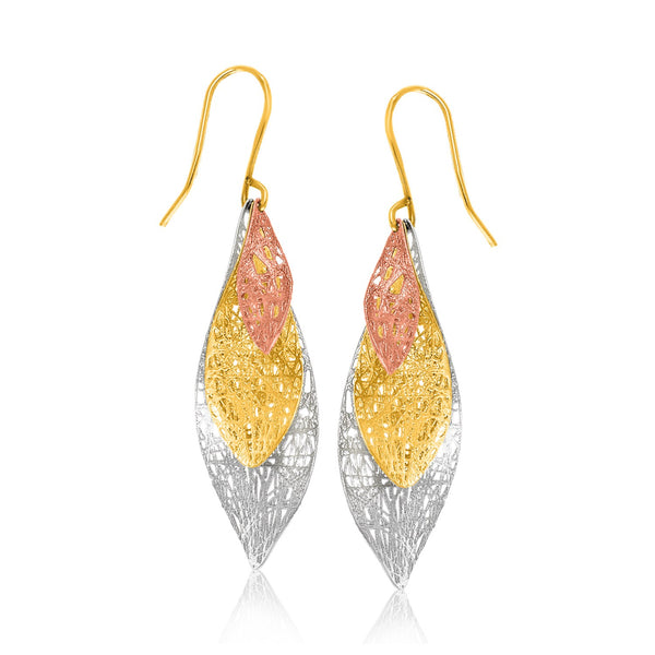 14k Tri-Color Gold Graduated Lace Dangling Earrings