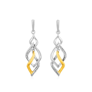 Two Toned Interlocking Twist Earrings with Diamonds in Sterling Silver