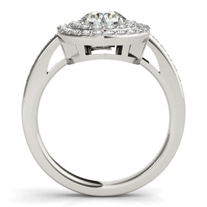 14k White Gold Round with Two-Row Halo Diamond Engagement Ring (1 1/2 cttw)