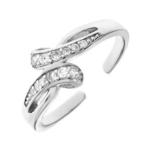Toe Ring with Bypass Motif in Sterling Silver with Cubic Zirconia