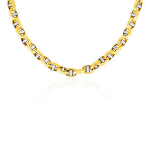 14k Two-Toned Yellow and White Gold Link Men's Necklace