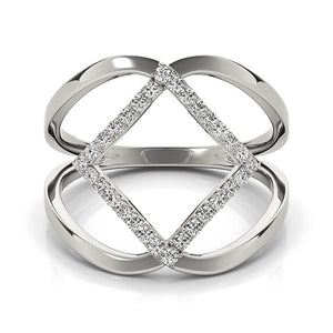 14k White Gold Interlaced Design Diamond Ring (1/5 cttw)