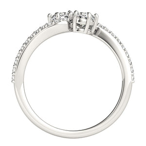 Curved Band Two Stone Diamond Ring in 14k White Gold (3/4 cttw)