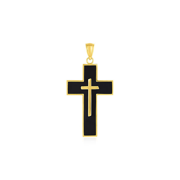 Cross Pendant with Black Enamel in 14k Yellow Gold